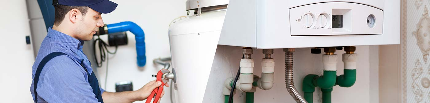 professionals fixing water heater